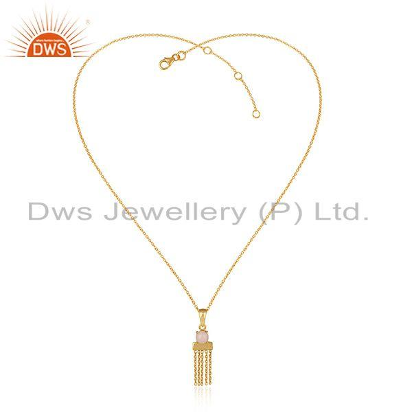 Designer Yellow Gold on Silver Bar Chain Necklce with Pink Opal
