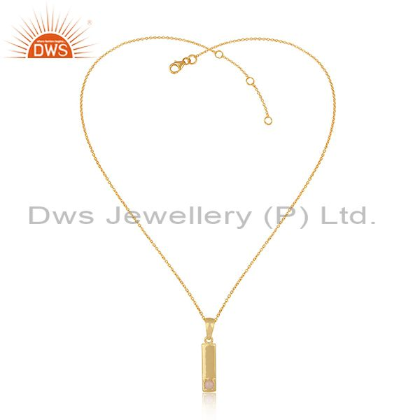 Handcrafted Yellow Gold on Silver Bar Necklace with Pink Opal