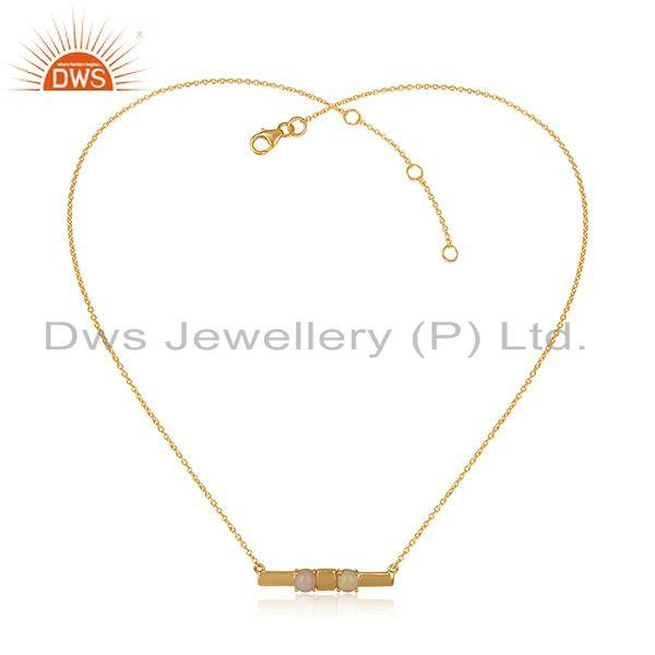 Dainty Gold on Silver Bar Necklace with Pink and Ethiopian Opal
