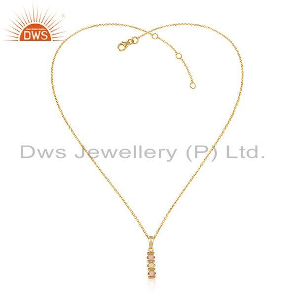 Designer Gold on Silver Bars Necklace with Pink and Ethiopian Opal