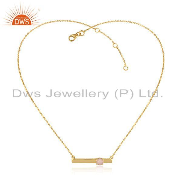 Handmade Dainty 18K Gold on Silver Bar Necklace with Pink Opal