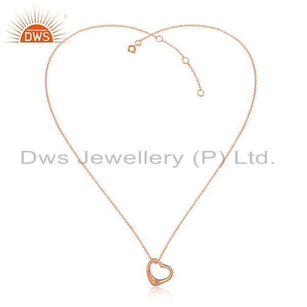 Designer Dainty Heart Pendant Necklace in Rose Gold on Silver