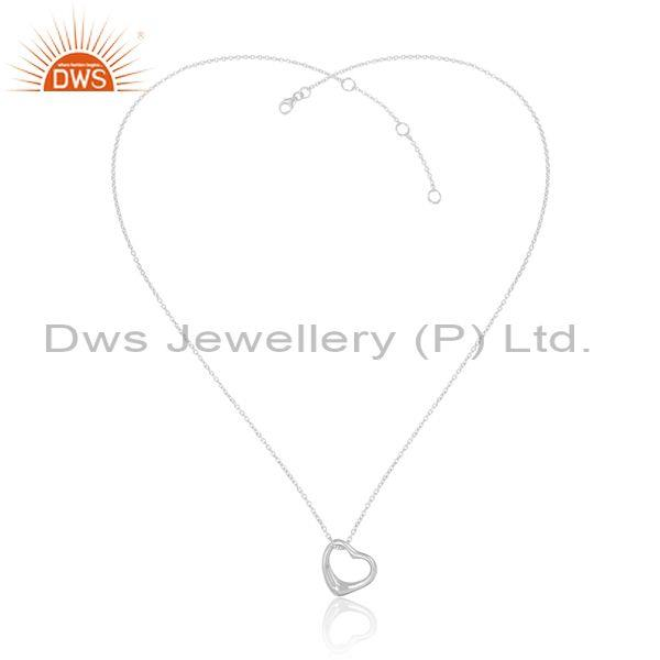 Fine 925 sterling silver heart pendant and statement chain