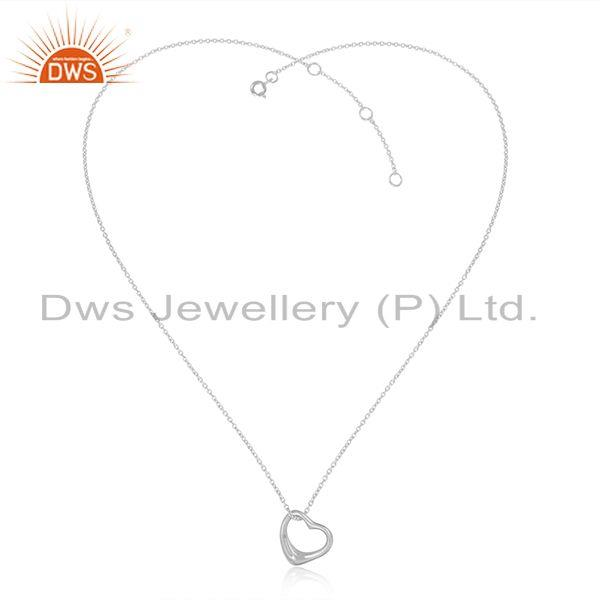 Designer Dainty Heart Pendant Necklace in White Rhodium on Silver