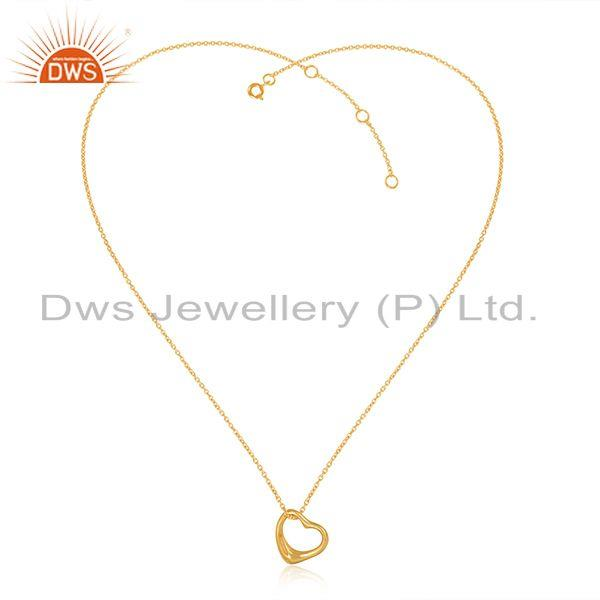 Designer Dainty Heart Pendant Necklace in Yellow Gold on Silver