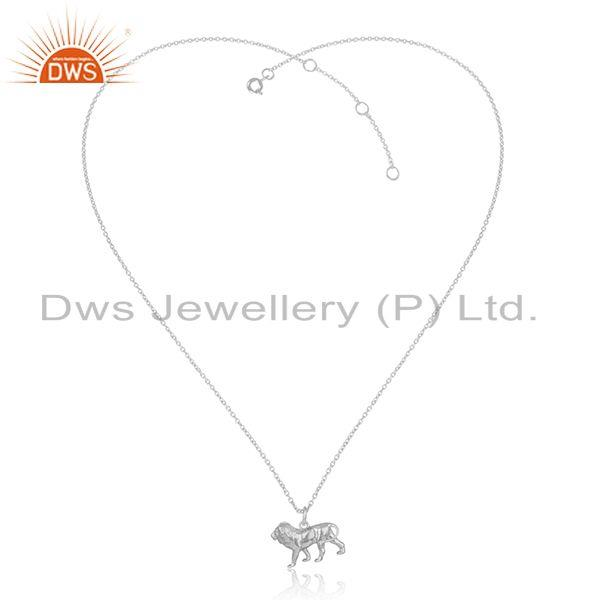 Designer Dainty Lion Pendant Necklace in Sterling Silver 925