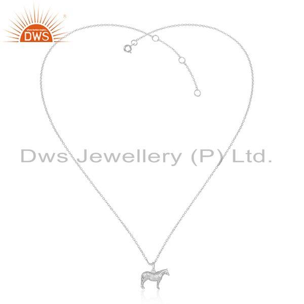 Designer Dainty Horse Pendant Necklace in Sterling Silver 925