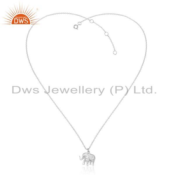 Designer Dainty Elephant Pendant Necklace in Sterling Silver 925