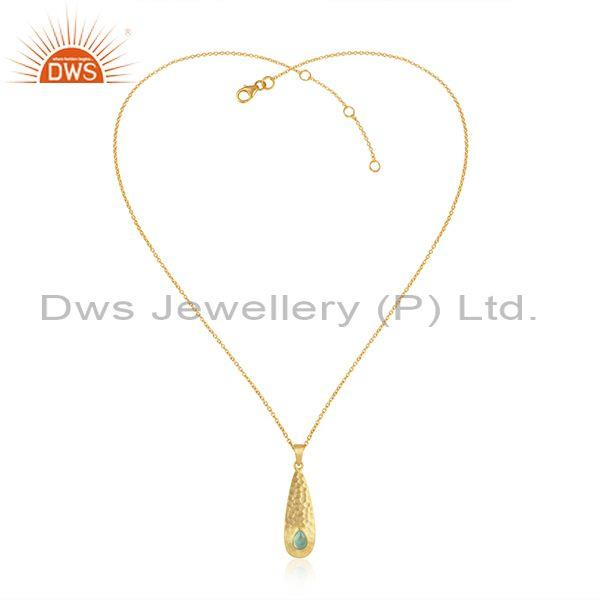 Hammered Designer Gold on Silver Aqua Chlacedony Necklace