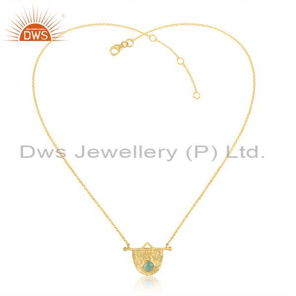 Handcrafted Hammered Gold on Silver Aqua Chlacedony Necklace