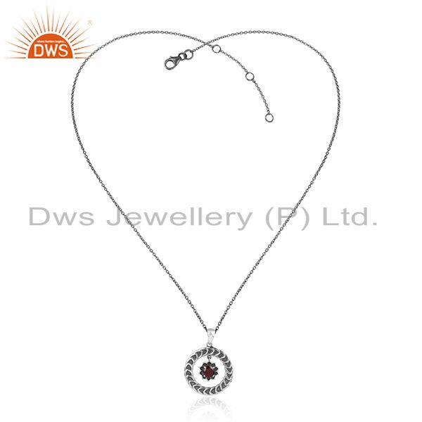 Handcrafted Floral Designer Oxidized Silver Necklace with Garnet