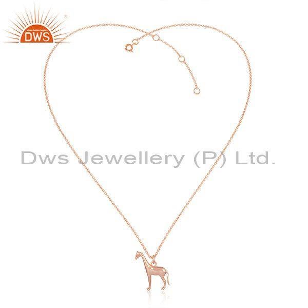 Designer Giraffe Rose Gold on Silver Pendant