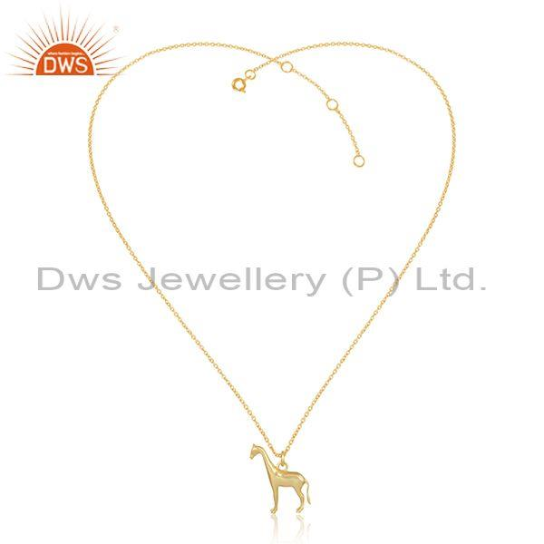 Designer Giraffe Yellow Gold on Silver Pendant