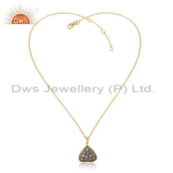 Trendy Designer Gold and Black Rhodium on Silver Cz Necklace