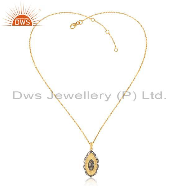 Traditional Gold and Black Rhodium on Silver Cz Necklace