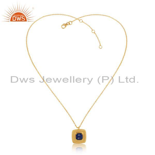 Hammer Bold Textured Gold on Silver Lapis Chain Pendant
