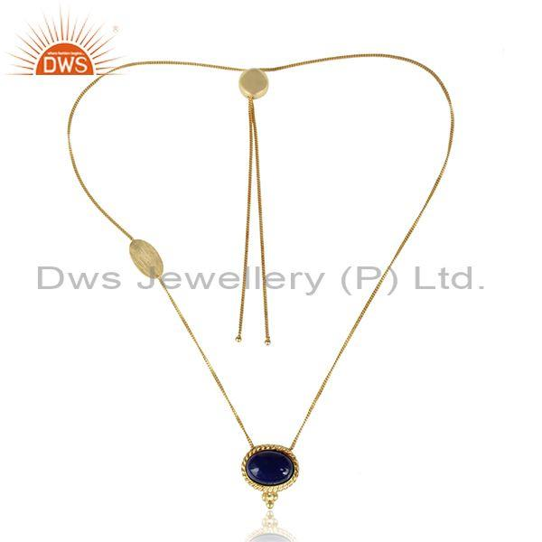 Handmade twisted rope gold over silver lapis slider necklace