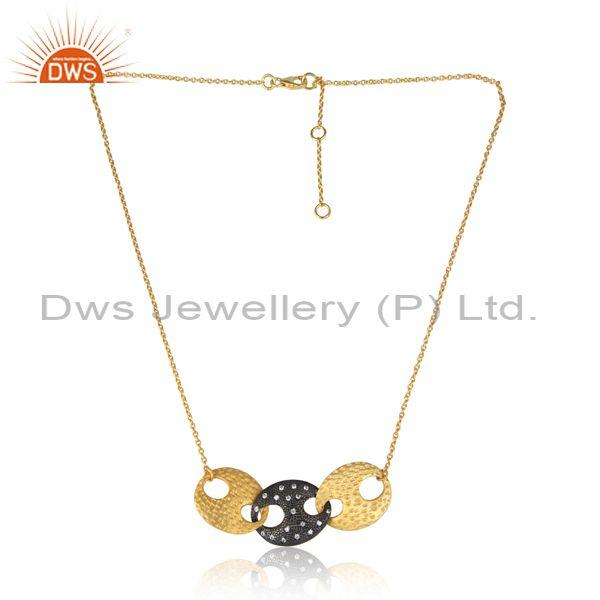 Hammered CZ Round Pendant And Gold On Silver Chain Necklace
