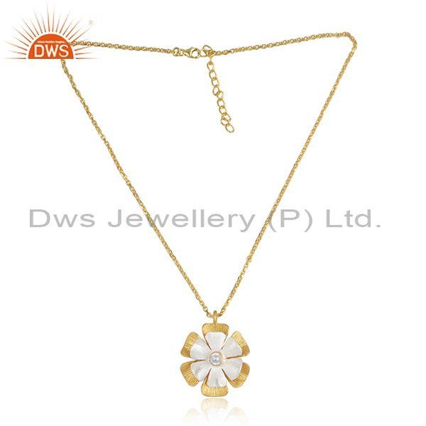 CZ Floral Pendant And Gold On Silver Designer Chain Necklace