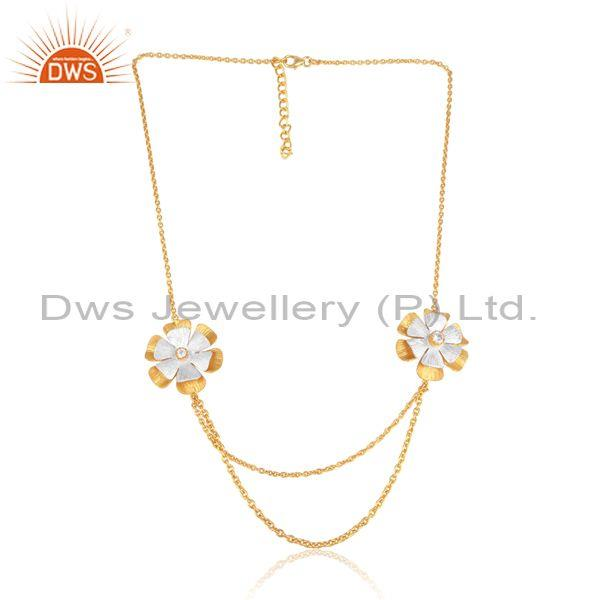 CZ Floral Pendants And Gold On Silver Double Chain Necklace