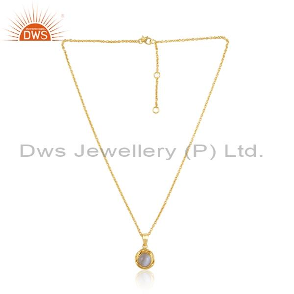 Blue lace agate gold plated silver pendant and necklace