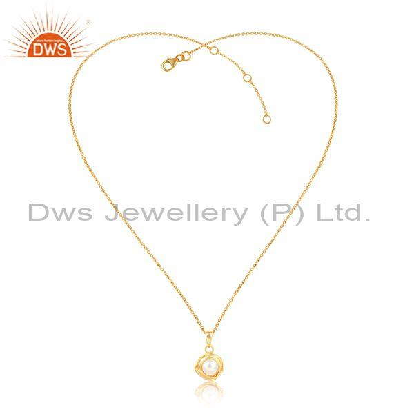 Wrapped Pearl Round Pendant And Gold Plated Silver Necklace