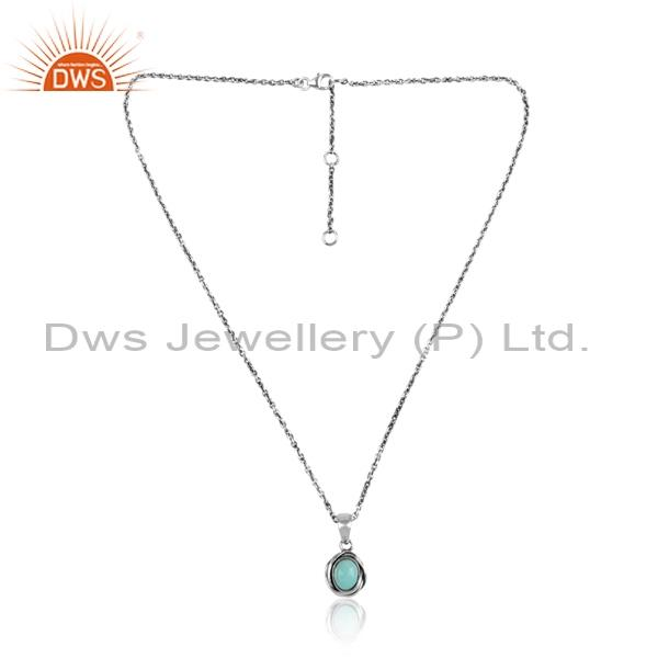 Arizona Turquoise  Cabushion Silver Pendant & Necklace