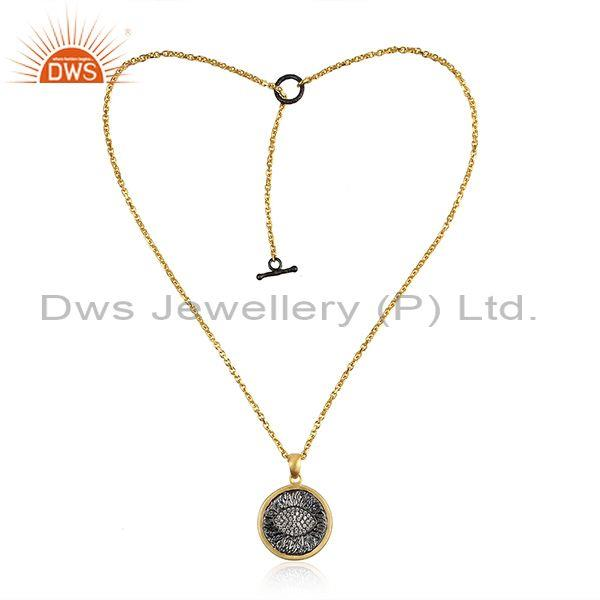 Eye Design Gold on Silver Zircon Chain Necklace