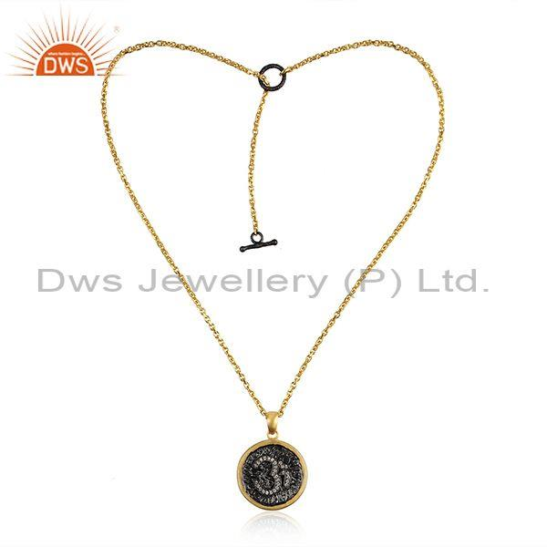 OM Sign Gold on Silver Zircon Chain Pendant