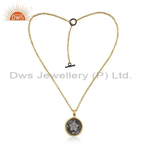 Star Design Rhodium and Gold On Silver Adjustable Chain Necklace