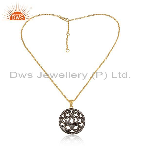 Cubic Zirconia Cut Pendant With Silver Gold Plated Necklace