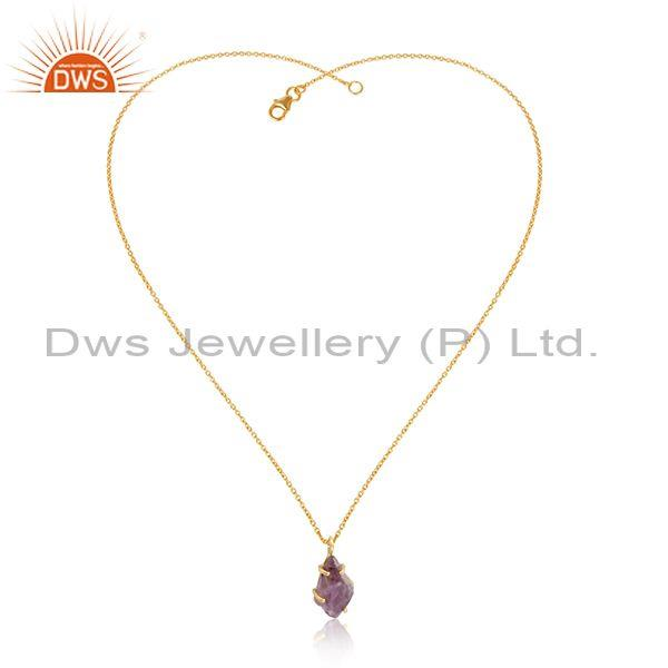 Raw amethyst gemstone gold on 925 silver chain pendant