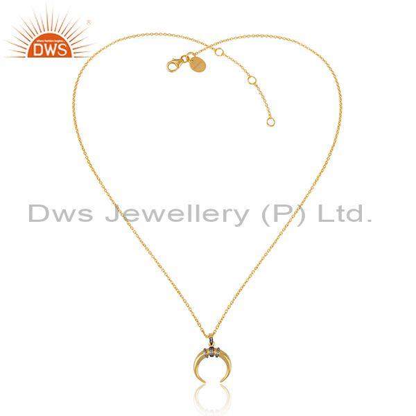 CZ Set Moon Shaped Pendant And Gold On Sterling Silver Chain