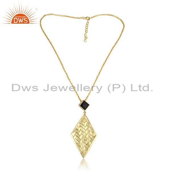 Black Onyx, Woven Rhombus Gold On Silver Pendant And Chain