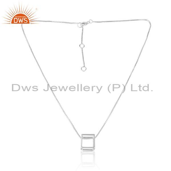 Square shaped fine 925 sterling silver pendant and necklace