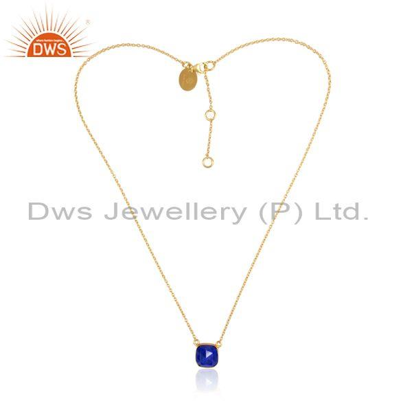 Lapis Set Pendant And Gold On 925 Sterling Silver Chain