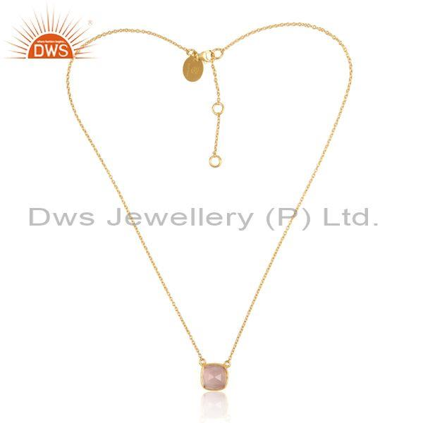 Rose quartz set pendant and gold on 925 silver fancy chain