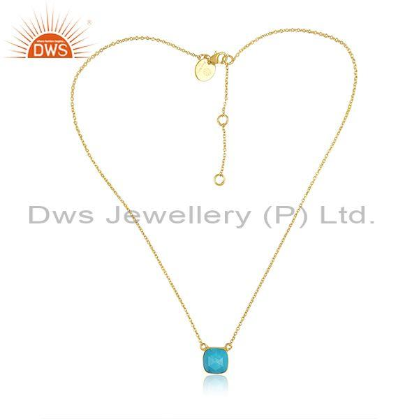 Square Cut Turquoise Set Gold On Silver Pendant And Chain