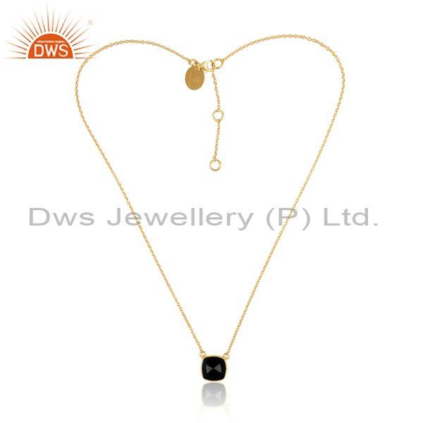 Black Onyx Set Pendant And Gold On 925 Sterling Silver Chain