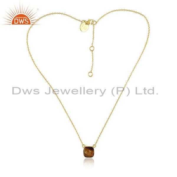 Square Cut Tiger Eye Set Gold On Silver Pendant And Chain