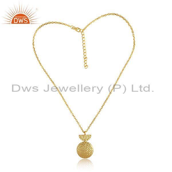 Gold On Silver Round Textured Pendant Gold On Silver Chain