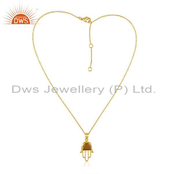Yellow chalcedony set gold on silver hamsa pendant and chain