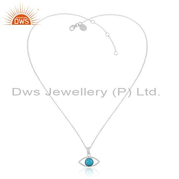 Turquoise Set Fine 925 Sterling Silver Eye Pendant And Chain