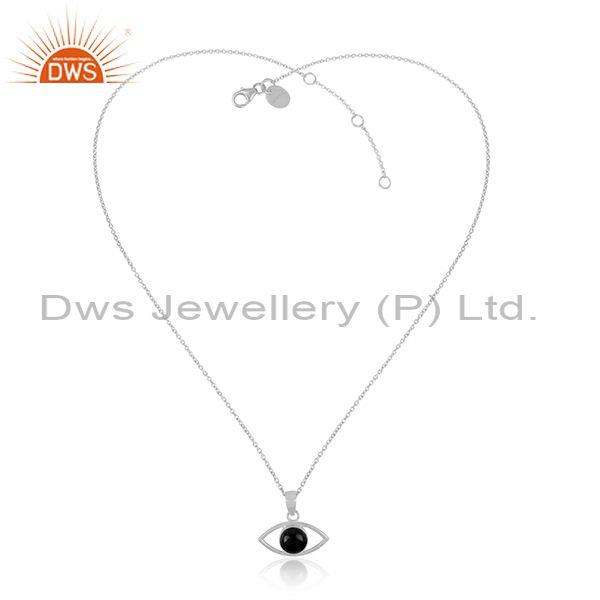 Black Onyx Set Fine Sterling Silver Eye Pendant And Chain
