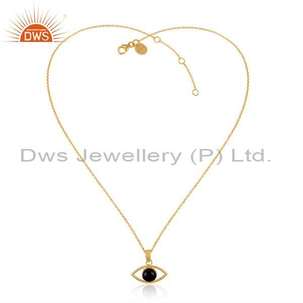 Black Onyx Set Gold On Sterling Silver Eye Pendant And Chain