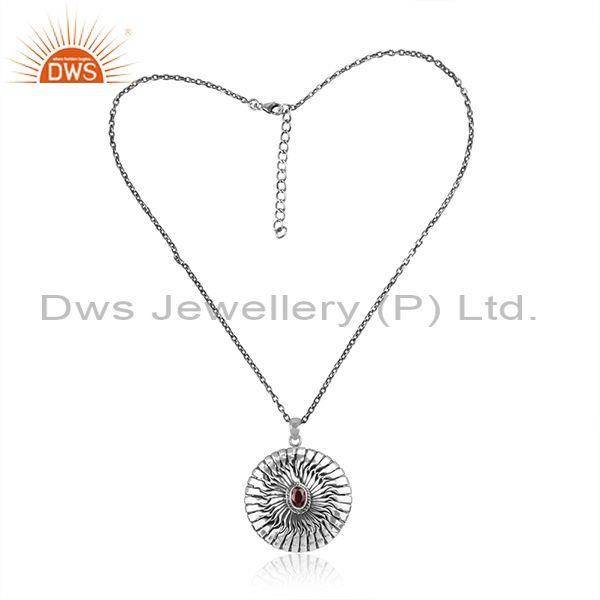 Red Garnet Round Pendant And Oxidized Silver Classic Chain