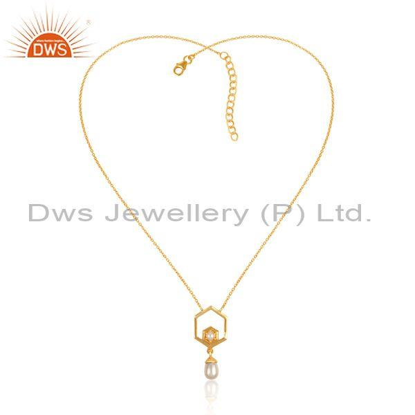 Pearls set gold on 925 silver statement pendant and chain