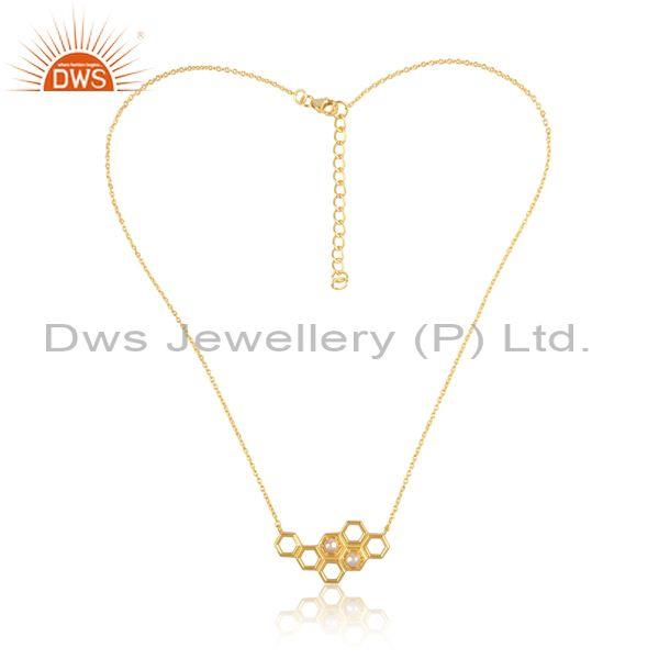 Pearl set gold on silver designer honeycomb pedant and chain
