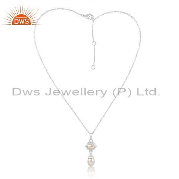 Pearl set fine sterling silver classic pendant and necklace