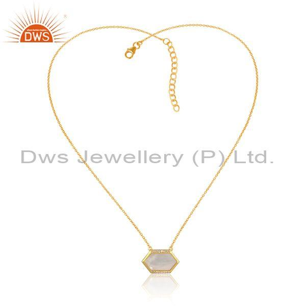 Cz and mother of pearl coin gold on silver pendant and chain